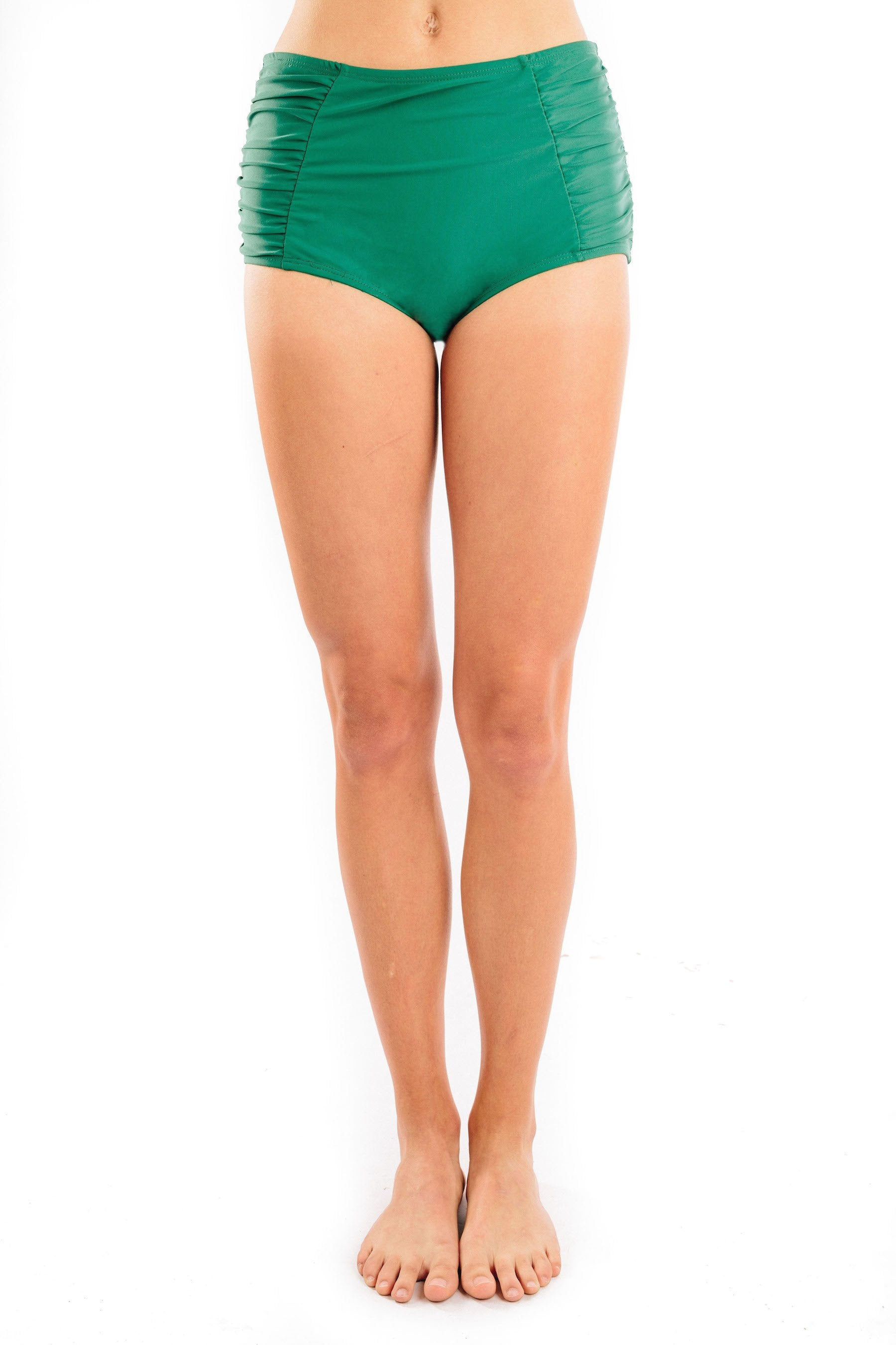 high waist shirred in emerald