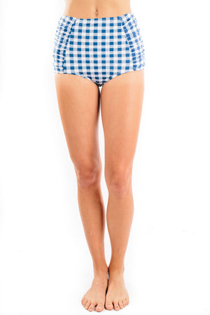 high waist shirred in gingham