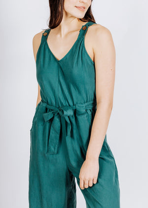 jumpsuit in deep jade