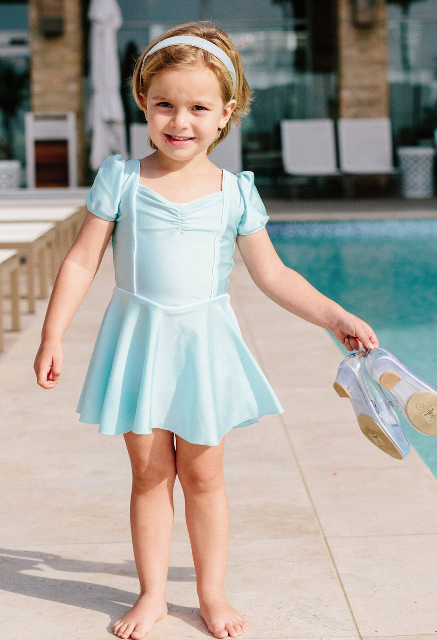 princess swim dress in blue