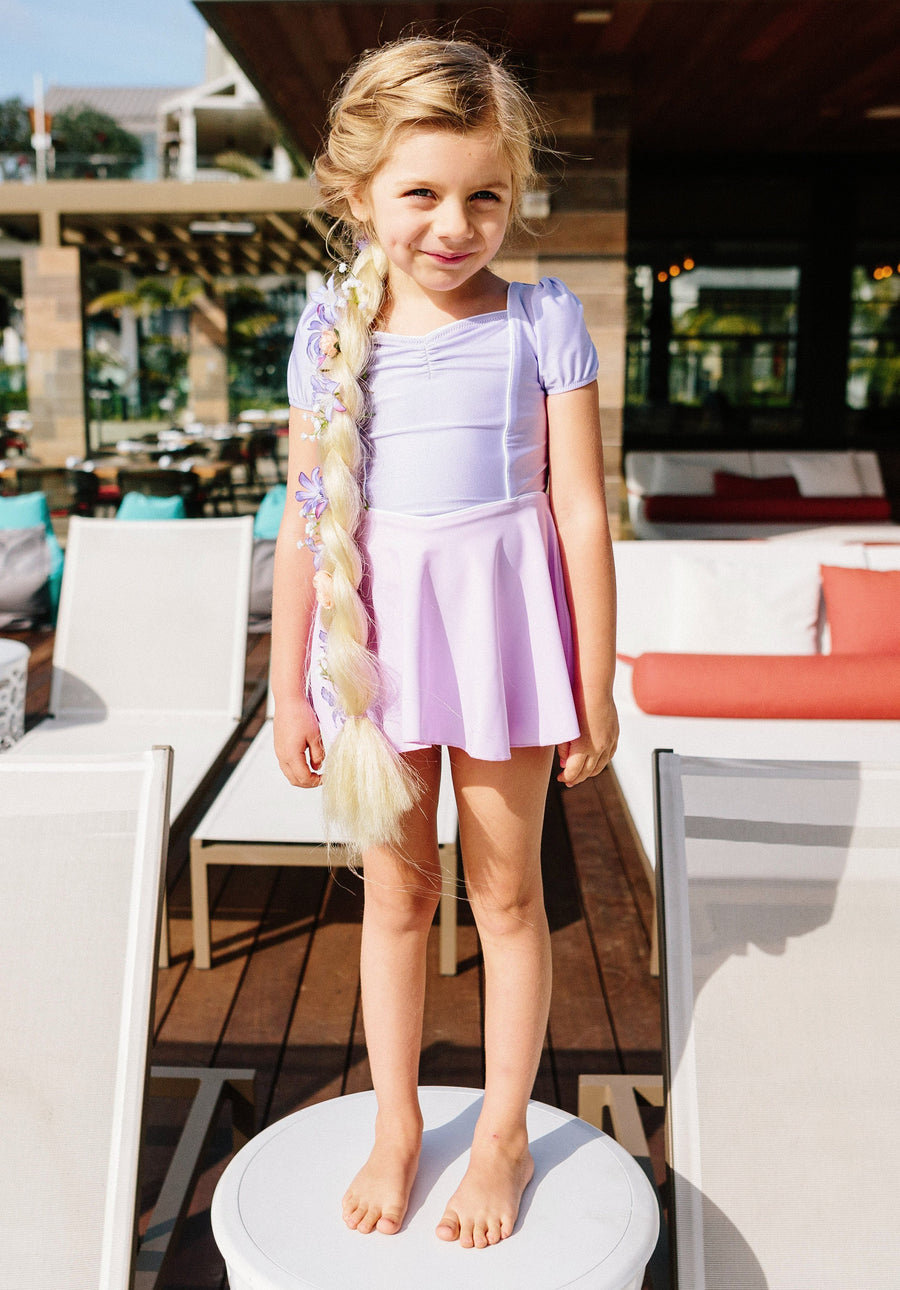 princess swim dress in purple