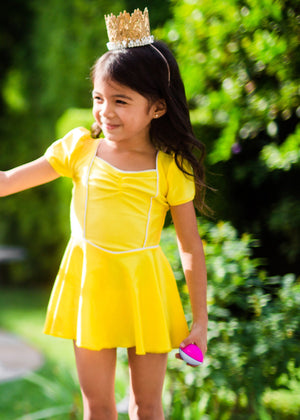 princess swim dress in yellow