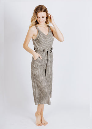 jumpsuit in grey/white stripe