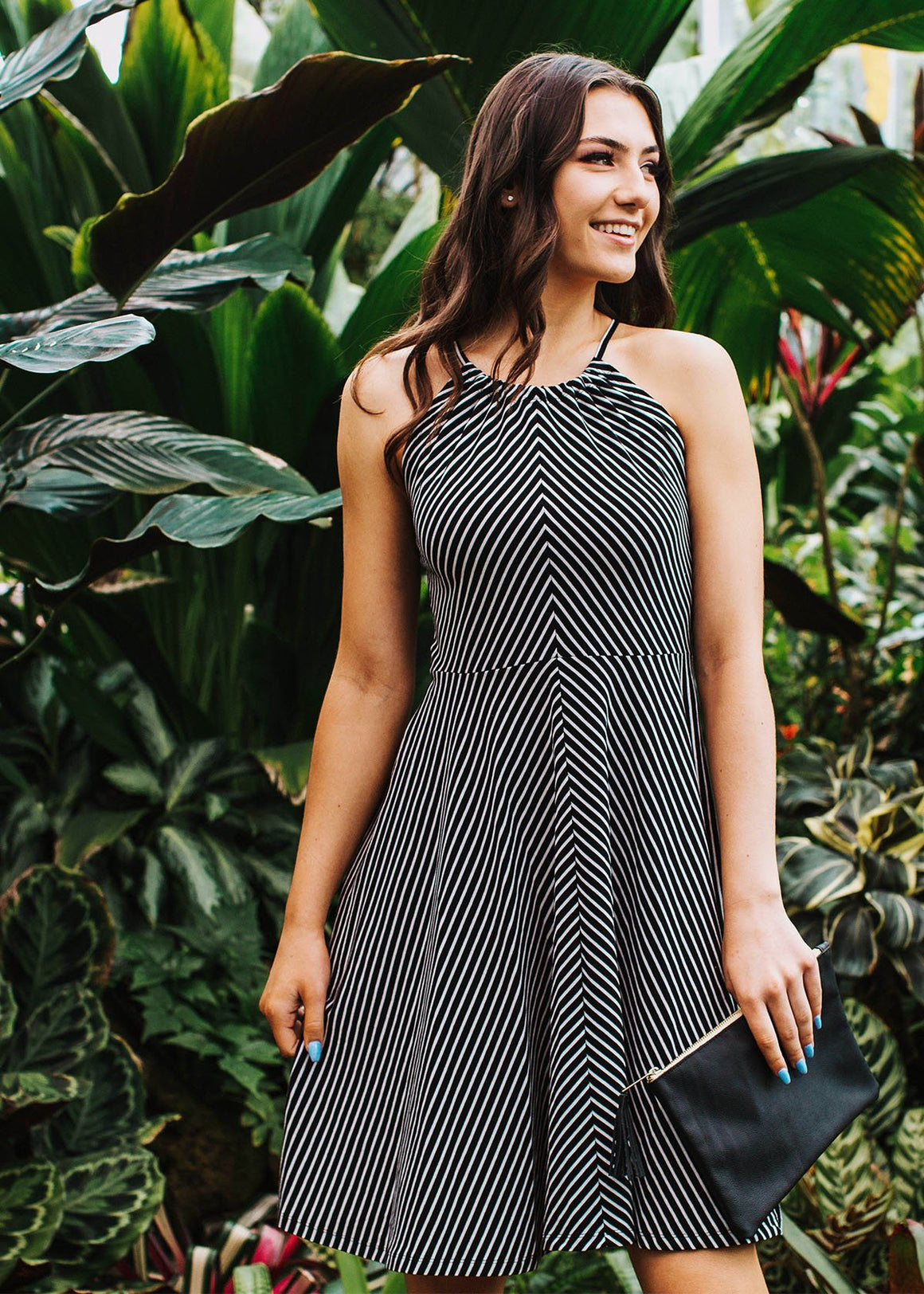 the venice dress in black/white stripe