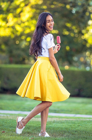 button-down skirt in canary