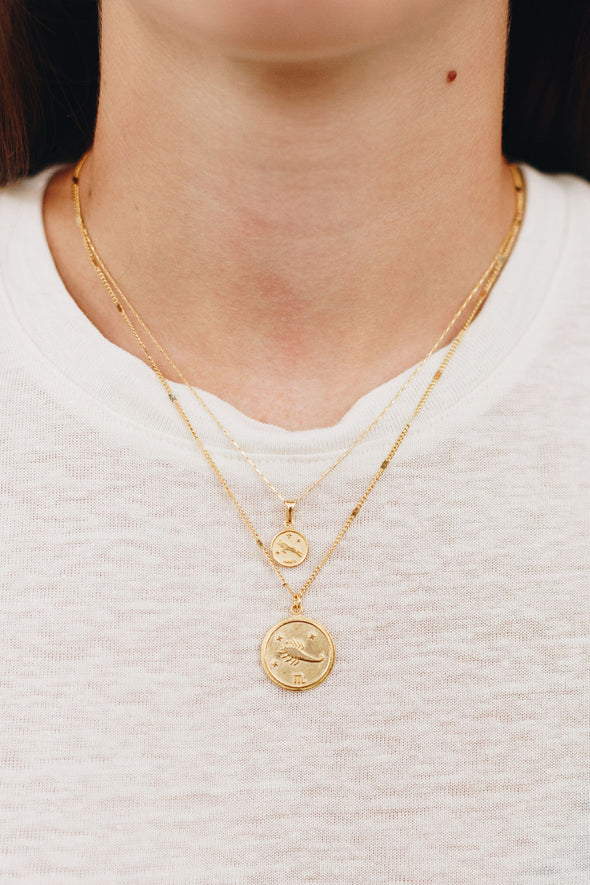 TINY ZODIAC MEDALLION NECKLACE