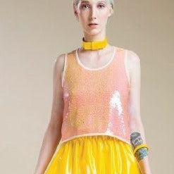 Salmon Sequinned Evening Top - Eurockk.com