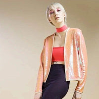 Salmon Sequined Evenin Jacket - Eurockk.com