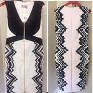 Zipper White Bodycon Dress - Eurockk.com