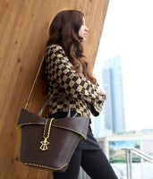Yellow Trimmed Lady Brown Handbag - Eurockk.com