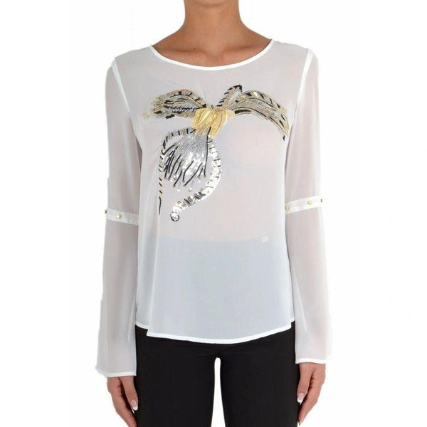 Gill Santucci Sequinned White Evening Top - Eurockk.com