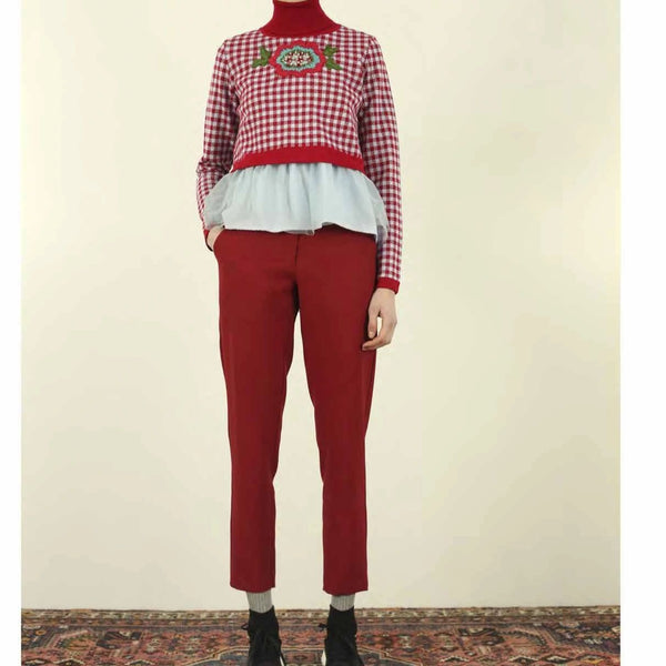 Red Crepe Pants - Eurockk.com