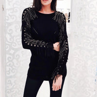 Goldie Fringe Black Sweater - Eurockk.com