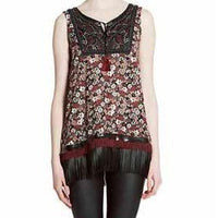 Rubina Leather Fringe TapestryTop - Eurockk.com