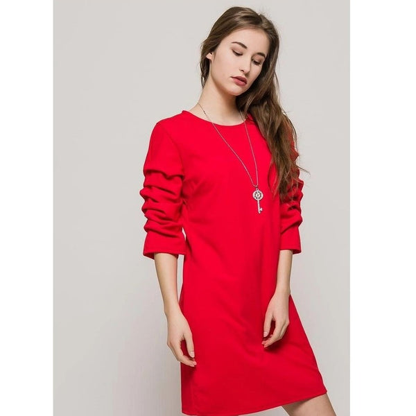 All in the  Sleeves Red Dress - Eurockk.com