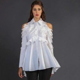 Tunic Lace White Shirt  Top - Eurockk.com