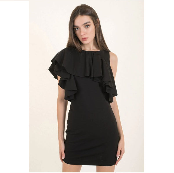 Asymetric Ruffle Black Dress - Eurockk.com