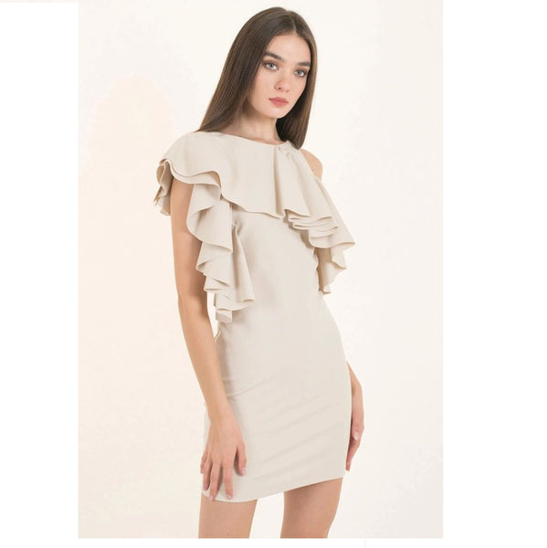 Off White Asymmetric Ruffle Dress - Eurockk.com
