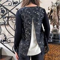 Lace Back Silk Floral Top - Eurockk.com