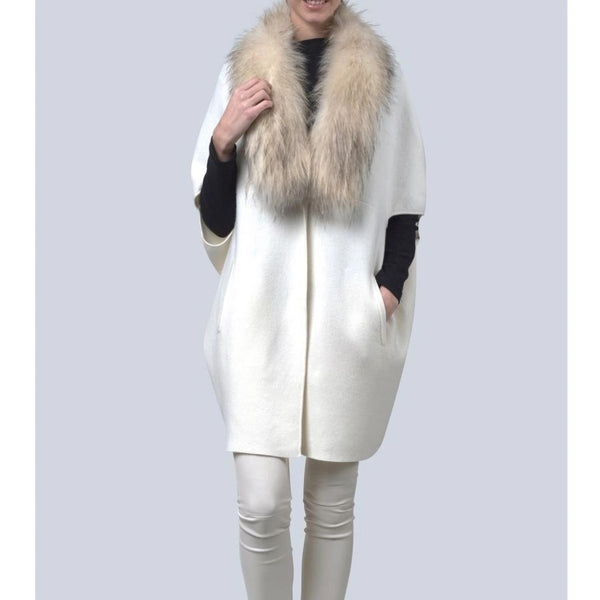 Lady Off White Fox and Cashmere Cape - Eurockk.com