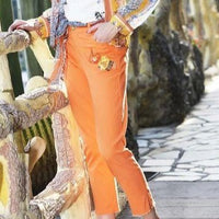 Blossoms Orange Jeans Pants - Eurockk.com