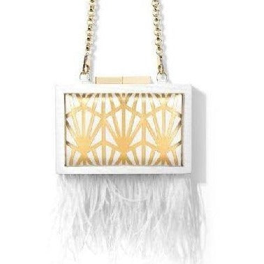Feather Fringe White Wood Clutch - Eurockk.com