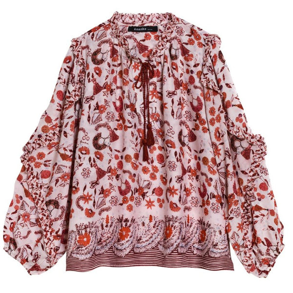 Red Floral Blouse - Eurockk.com