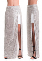 High Slit Sequinned Skirt - Eurockk.com