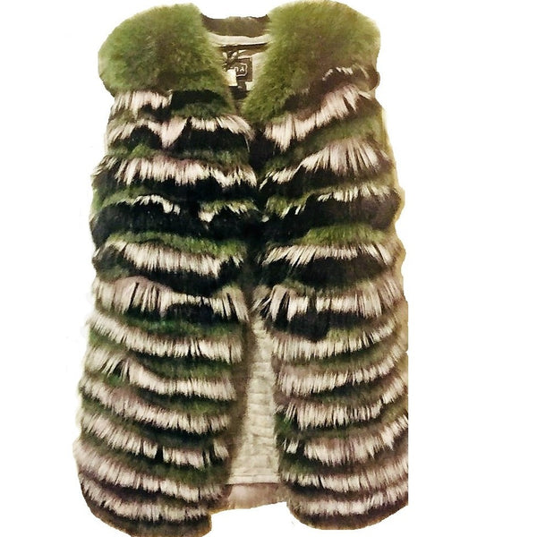 Green Fox Layers Fur Vest - Eurockk.com