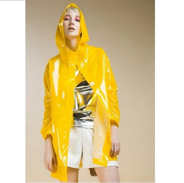 Stefania Mara STMA All in Yellow Plastic Trench Coat - Eurockk.com