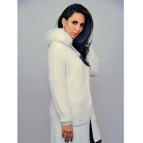 Icy White Wool and Fur Jacket - Eurockk.com
