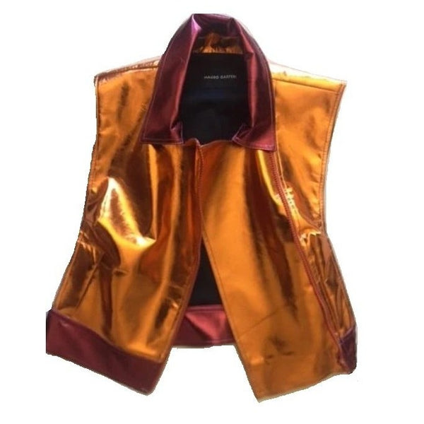 Sunshine Orange Leather Vest - Eurockk.com