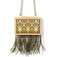 Straw Fringe White Wood Clutch - Eurockk.com