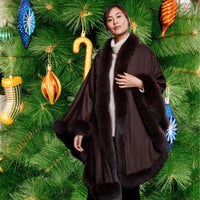 Coffee Brown Cashmere and Fur Shawl - Eurockk.com