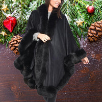 Black Cashmere and Fur Shawl - Eurockk.com