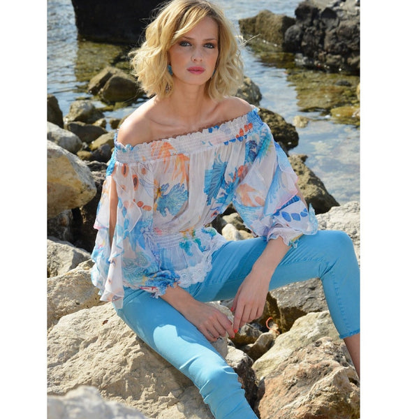 Azure Off the Shoulder Top - Eurockk.com