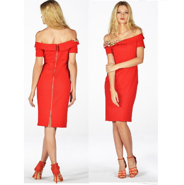 Off the Shoulder Red Dress Luxury - Eurockk.com