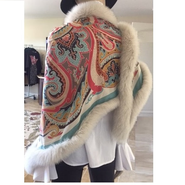 Tapestry Silk Fox Trim Shawl - Eurockk.com