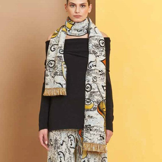Musik Colorful Yellow Wool Stole - Eurockk.com