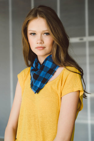 Blue Buffalo Plaid Bandana Scarf