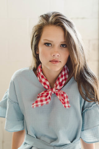 Red Gingham Bandana Scarf