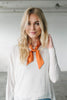 Orange Silk Skinny Neck Scarf