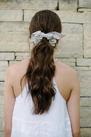 Grey Floral Scrunchie