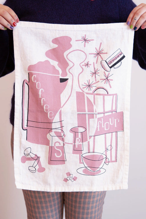Mid-Mod Tea Towel in Pink