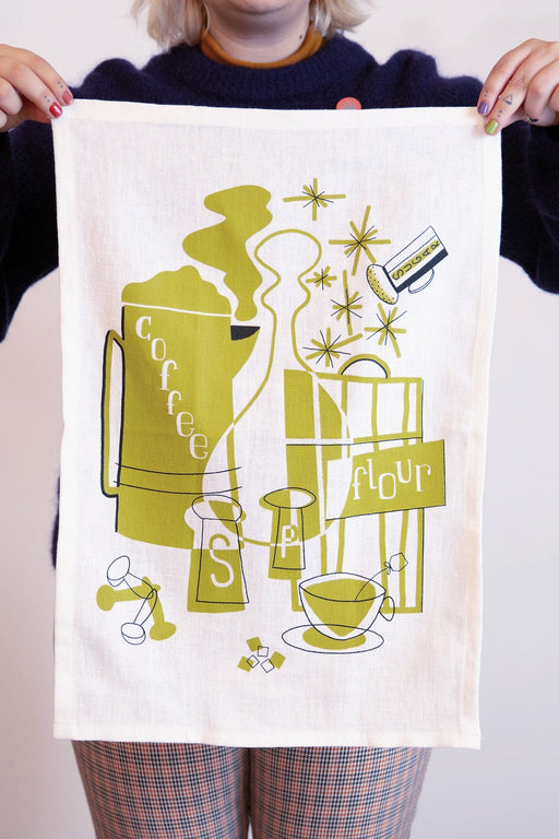 Mid-Mod Tea Towel in Green