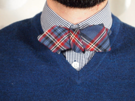 blue cotton tartan bow