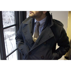 houndstooth wool tie with grayers coat