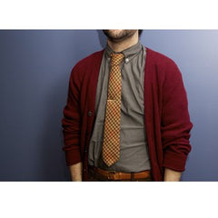 brown and red wool houndstooth tie