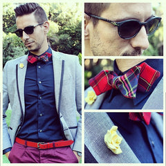 red cotton tartan bow what my boyfriend wore