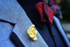 floral lapel pin cotton bow